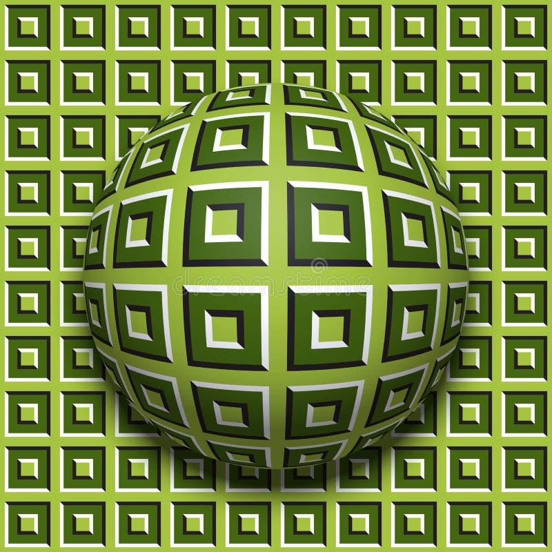 Rotolamento modellato della palla lungo lo stessi superficie Illustrazione astratta di illusione ottica di vettore Fondo di moto illustrazione di stock