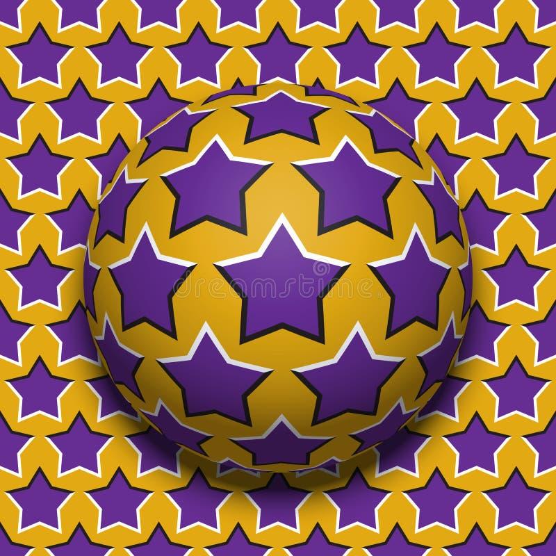 Rotolamento stellato della palla lungo lo stessi superficie Illustrazione astratta di illusione ottica di vettore Fondo di moto illustrazione di stock