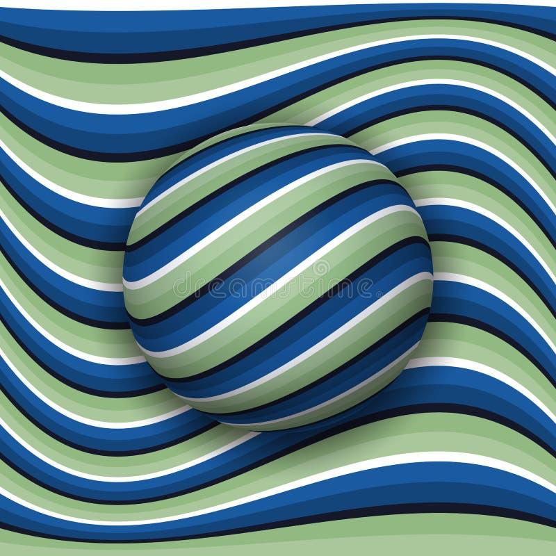 Rotolamento a strisce della palla lungo la superficie a strisce Illusione ottica di vettore astratto illustrazione di stock