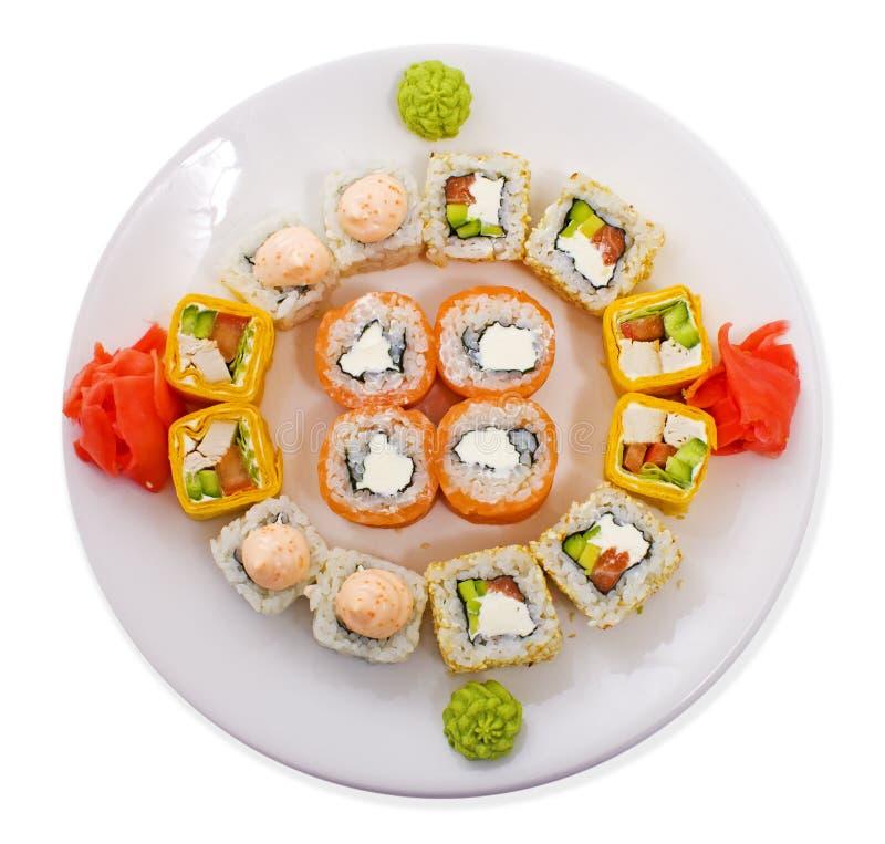 Rotolato e sushi fotografia stock