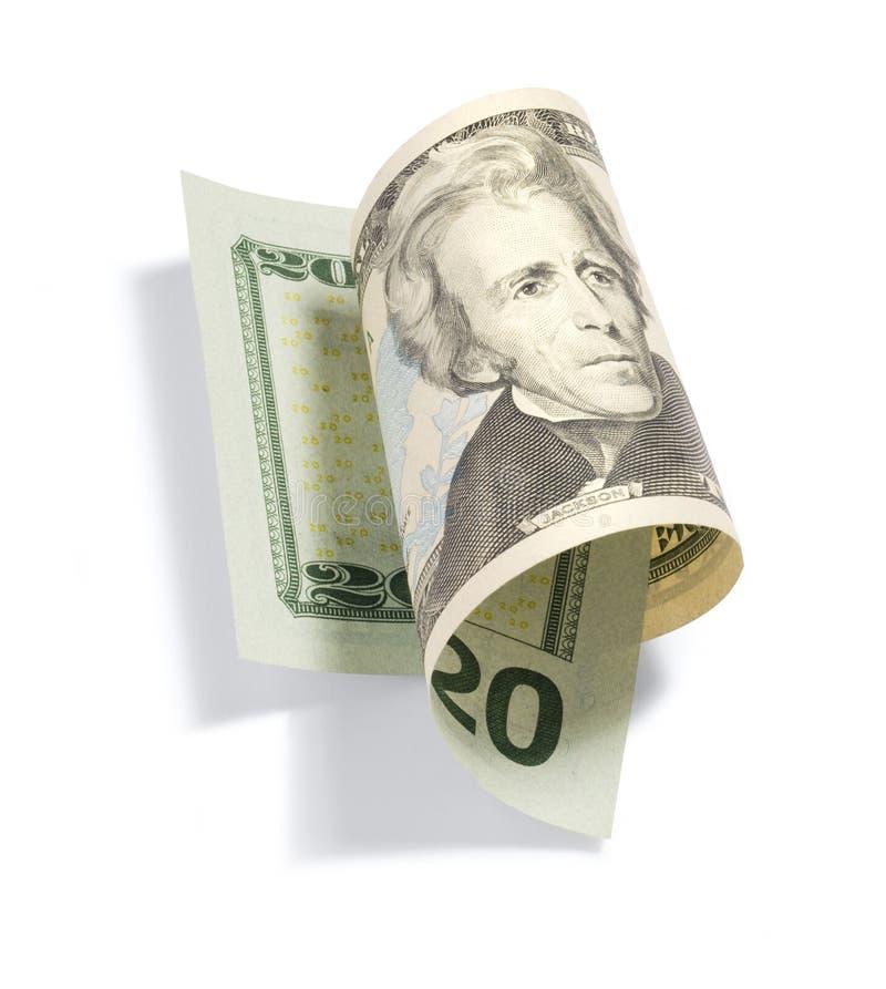 Rotolato venti dollari Bill fotografie stock libere da diritti