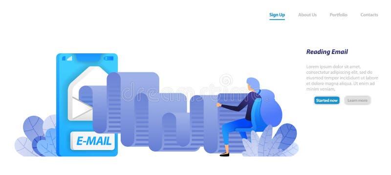 Rotoli colti del email apps mobili della posta con le buste le donne sono sedentesi e leggenti la comunicazione moderna concetto  illustrazione vettoriale