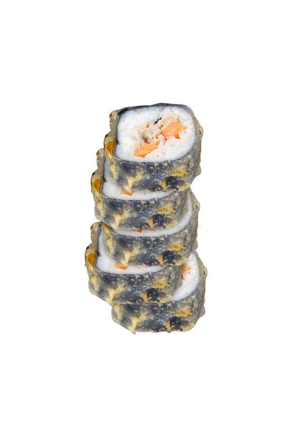 Rotoli di sushi isolati su bianco fotografia stock