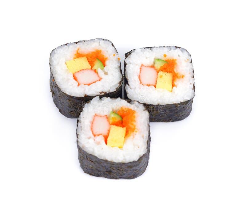 Rotoli freschi di maki dei sushi, isolati su bianco, immagini stock
