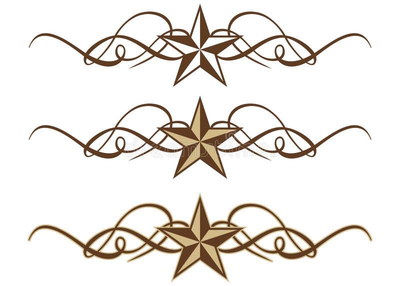 Rotoli occidentali della stella illustrazione di stock