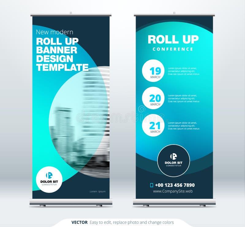Rotoli sul concetto della presentazione del supporto dell'insegna L'affare corporativo rotola sul fondo del modello Tabellone per illustrazione di stock
