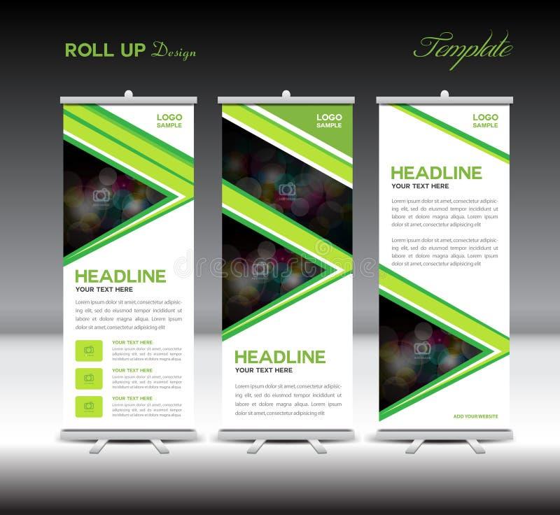Rotoli sul layo di vettore della pubblicità del modello del supporto del modello dell'insegna illustrazione vettoriale