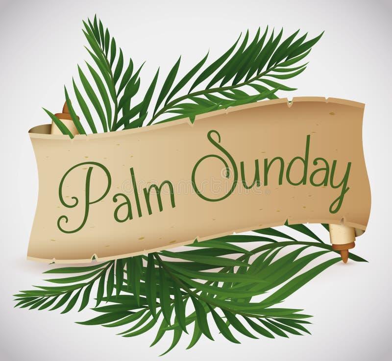 Rotolo antico con i rami della palma dietro per la festa di Domenica delle Palme, illustrazione di vettore royalty illustrazione gratis