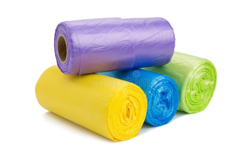 Rotolo colorato delle borse di immondizia fotografia stock libera da diritti