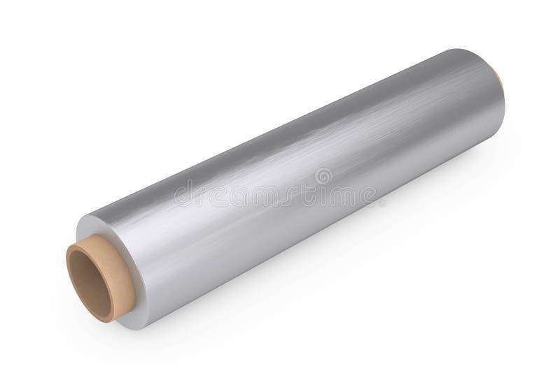 Rotolo d'imballaggio della stagnola del metallo di alluminio dell'alimento rappresentazione 3d illustrazione vettoriale