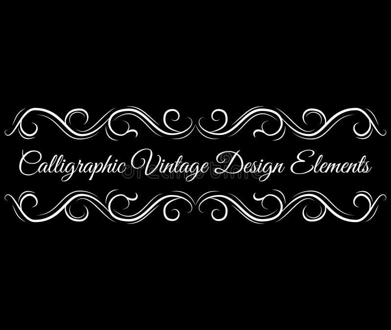 Rotolo decorato, elementi decorativi di progettazione Confini d'annata di scenetta Elemento d'annata calligrafico di progettazion illustrazione di stock