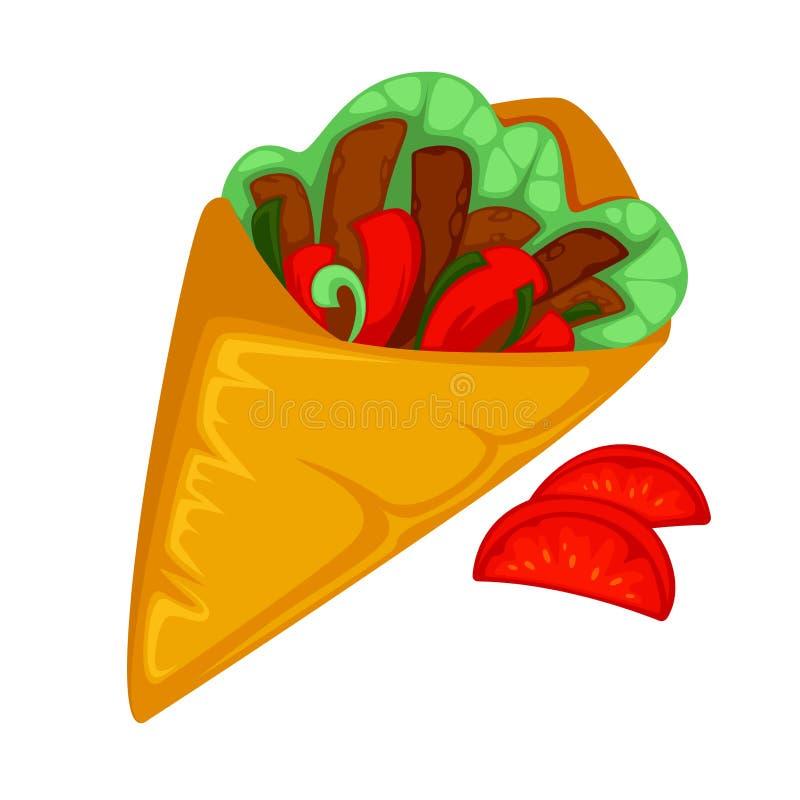 Rotolo del burrito, shawarma o pita delle girobussole royalty illustrazione gratis
