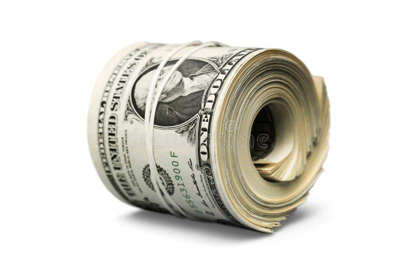 Rotolo del dollaro stretto con la banda Ritaglio rotolato dei soldi fotografie stock libere da diritti