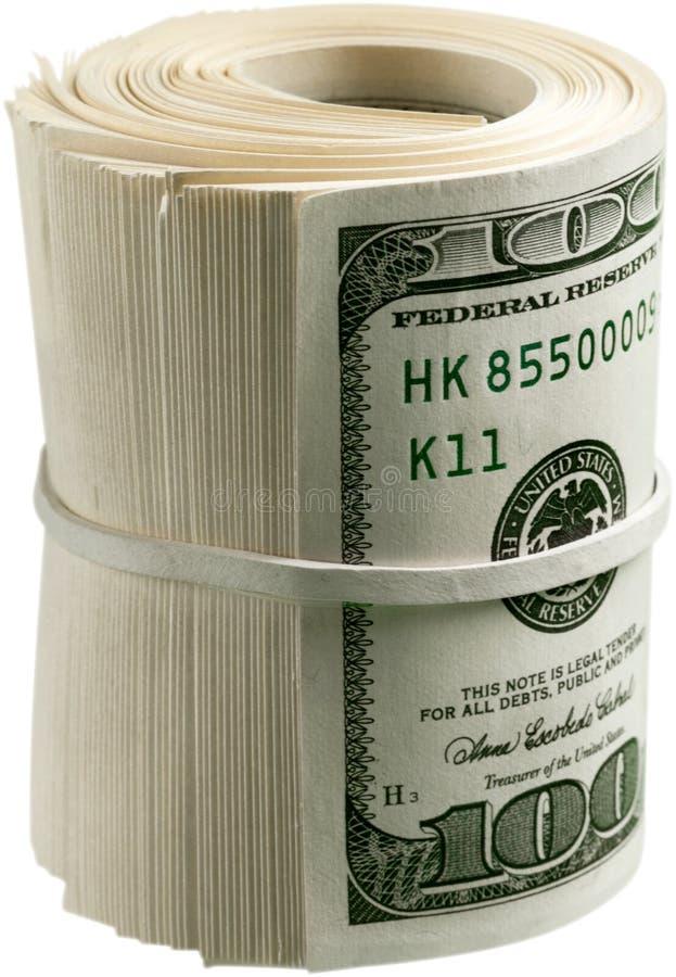 Rotolo del dollaro stretto con la banda Ritaglio rotolato dei soldi fotografia stock libera da diritti