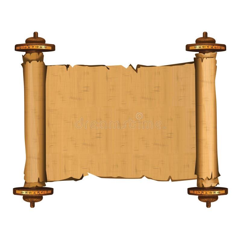 Rotolo del papiro di egitto antico con la barretta di legno illustrazione di stock