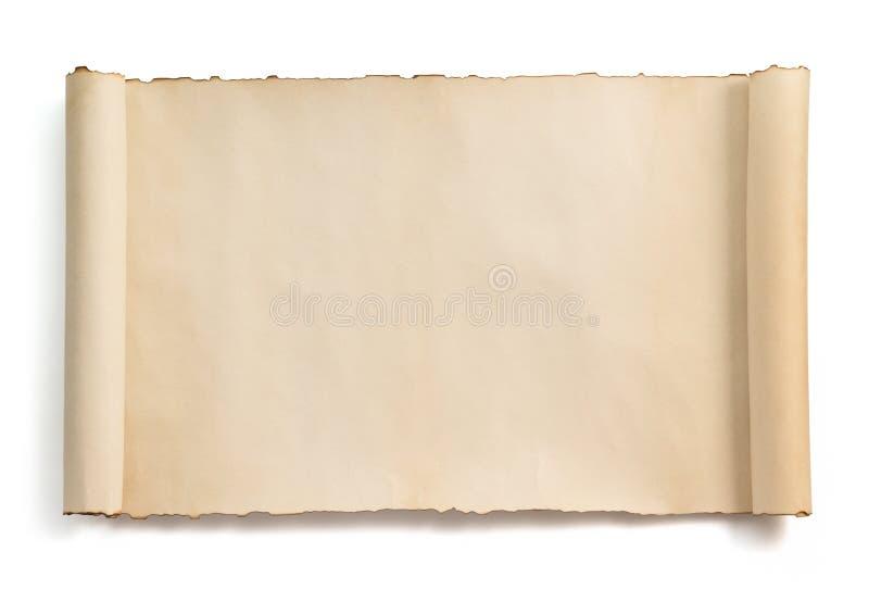 Rotolo della pergamena isolato su bianco fotografia stock libera da diritti