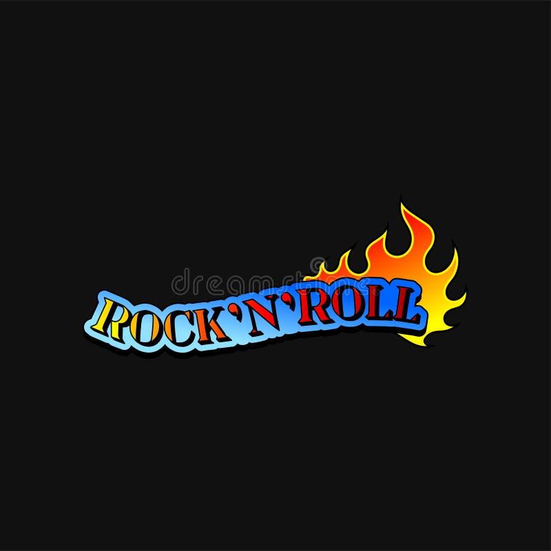 Rotolo della roccia n del testo e lingua della fiamma bruciante Tema di musica Progettazione di vettore per la stampa della magli illustrazione di stock