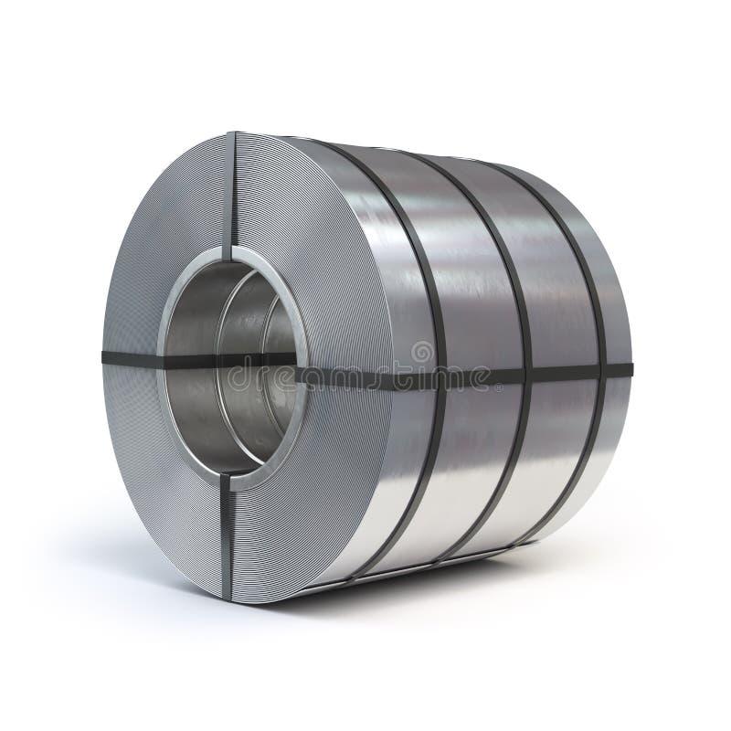 Rotolo dello strato dell'acciaio laminato isolato su fondo bianco prodotto royalty illustrazione gratis