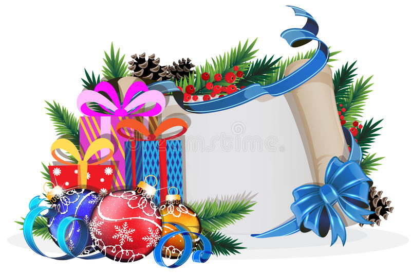 Rotolo di carta con l'arco, i regali e le palle blu di Natale royalty illustrazione gratis