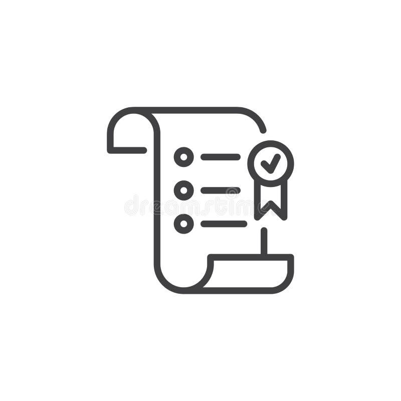 Rotolo di carta con l'icona del profilo del nastro del premio illustrazione di stock