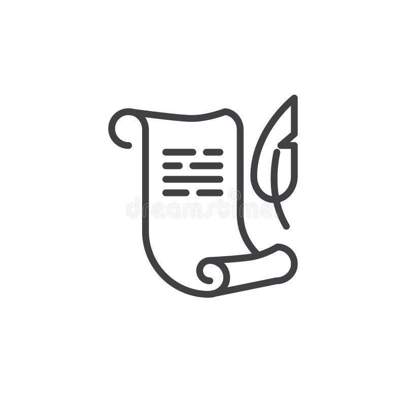 Rotolo di carta con la linea icona della penna della piuma illustrazione vettoriale