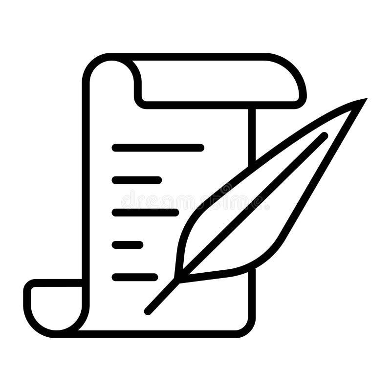 Rotolo di carta con la penna della piuma illustrazione vettoriale