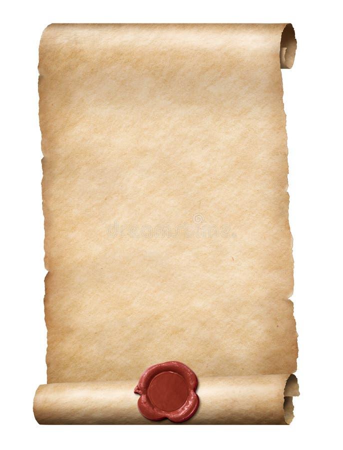 Rotolo di Parhment con l'illustrazione reale della guarnizione 3d della cera rossa illustrazione di stock