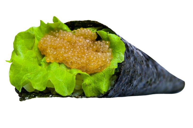 Rotolo di sushi con il tonno, il caviale ed il riso isolati immagine stock