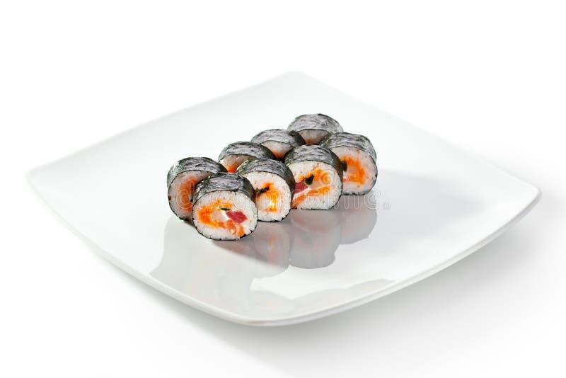 Rotolo di sushi dei frutti di mare fotografie stock libere da diritti