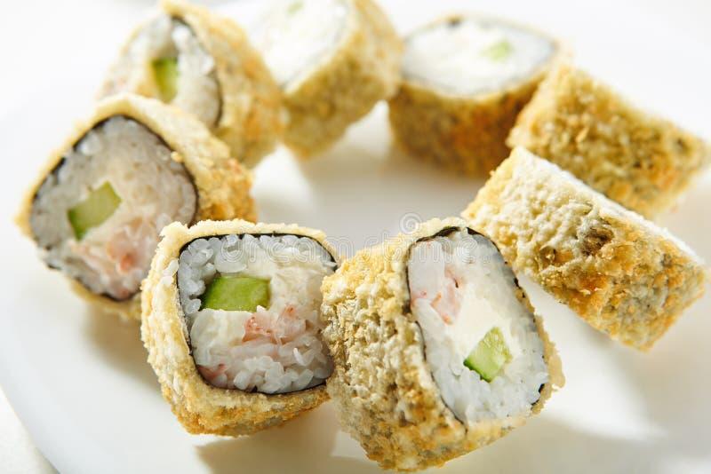 Rotolo di sushi della tempura immagine stock