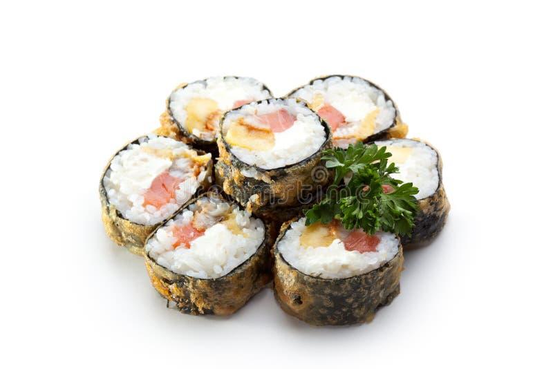 Rotolo di sushi della tempura fotografia stock