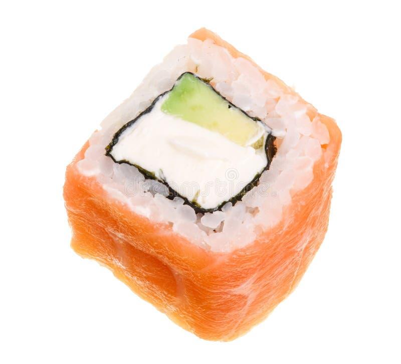 Rotolo di sushi isolato su fondo bianco senza un'ombra immagini stock libere da diritti
