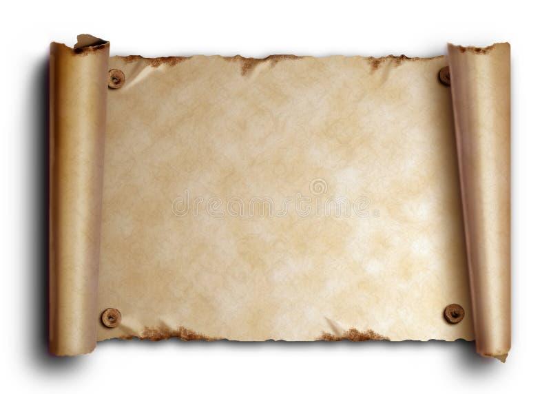 Rotolo di vecchio documento con i bordi ed i chiodi arrotondati illustrazione di stock