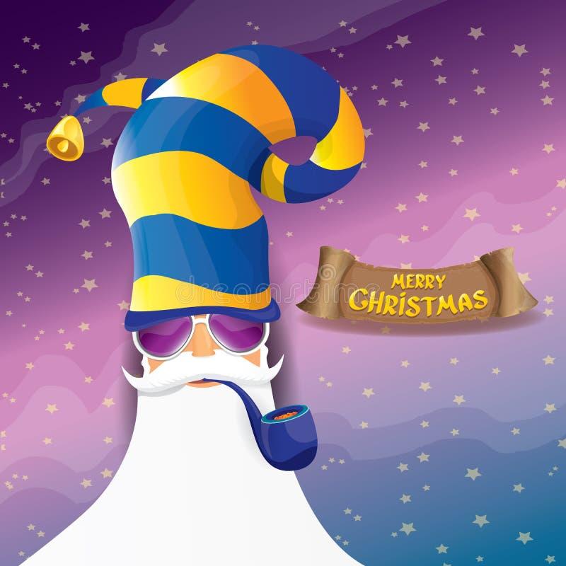 Rotolo il Babbo Natale della roccia n di vettore con il tubo di fumo, la barba funky ed il cappello di Santa Fondo del manifesto  royalty illustrazione gratis