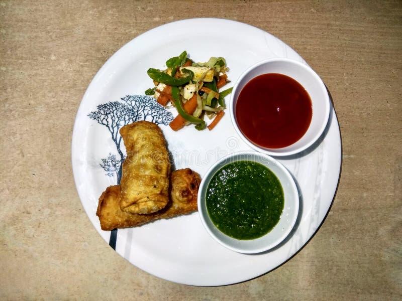 Rotolo indiano del paneer dello spuntino con souce verde & rosso ed insalata fritta immagine stock libera da diritti