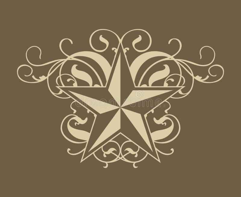 Rotolo occidentale della stella illustrazione di stock