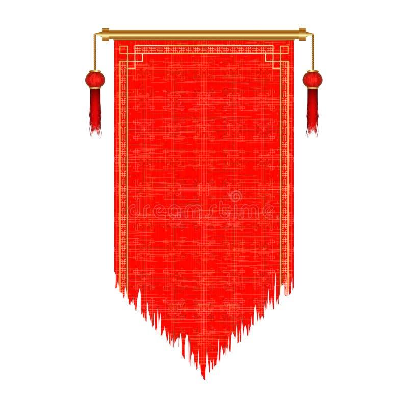 Rotolo rosso asiatico tradizionale vecchio illustrazione di stock