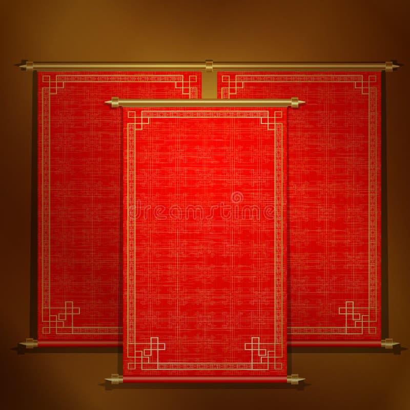 Rotolo rosso con l'ornamento asiatico illustrazione vettoriale