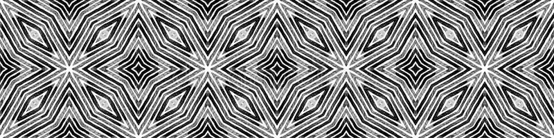 Rotolo senza cuciture in bianco e nero scuro del confine Geome royalty illustrazione gratis