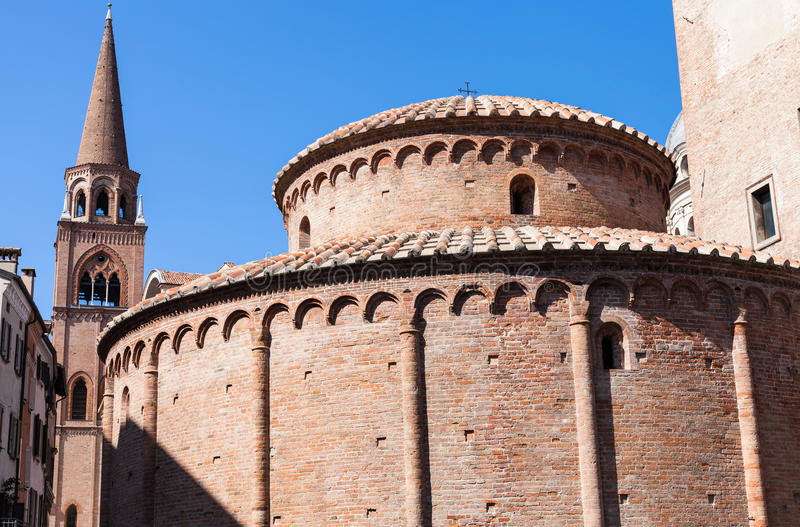 Rotonda di san lorenzo and belltower of Basilica. Travel to Italy - Rotonda di san lorenzo and belltower of Basilica of Sant`Andrea in Mantua city in springg royalty free stock photography