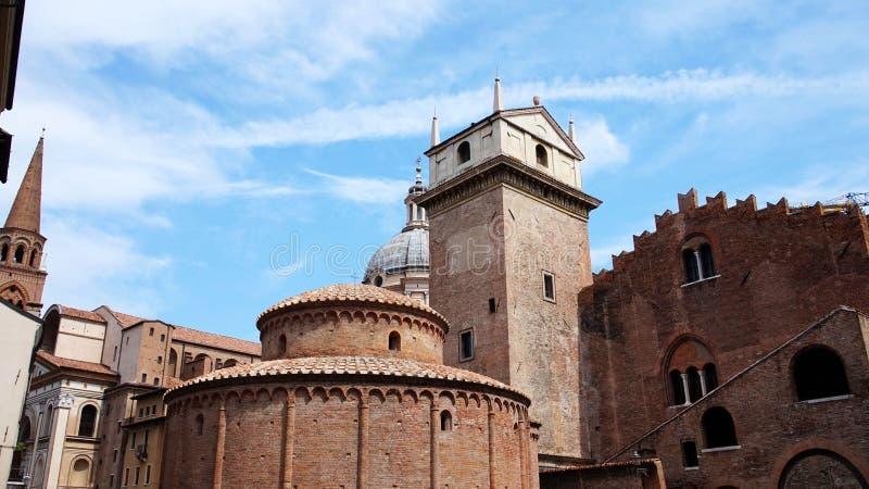 Rotonda di San Lorenzo church and Clock tower in Mantua, Italy.  royalty free stock images