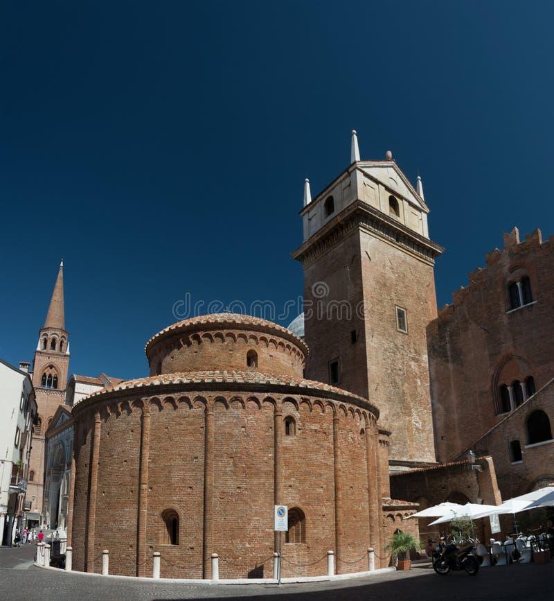 Rotonda di San Lorenzo church and Clock tower in Mantua, Italy.  stock images