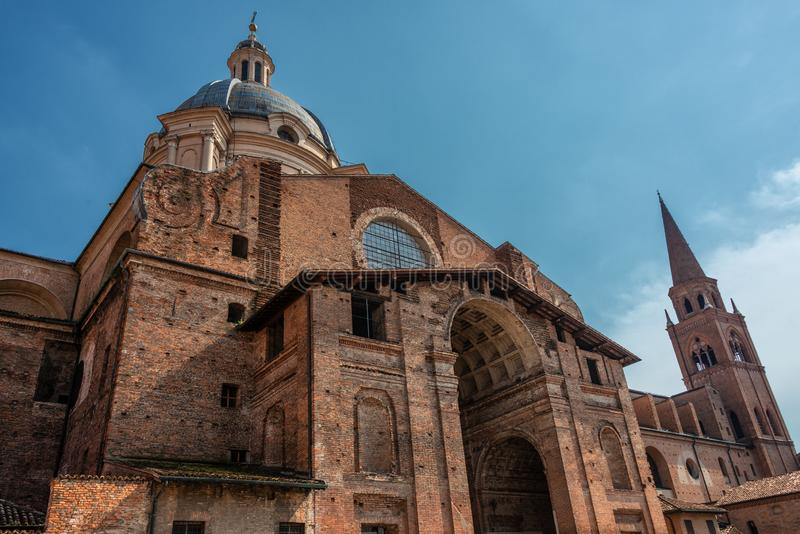 Rotonda di San Lorenzo church in Mantua. Panoramic view on Rotonda di San Lorenzo church in Mantua stock photos