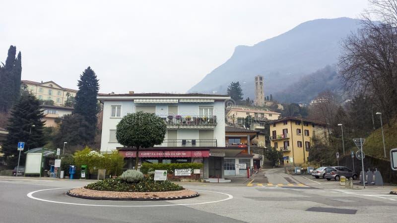 Rotonda vuota e vista architettonica di Lugano immagine stock libera da diritti