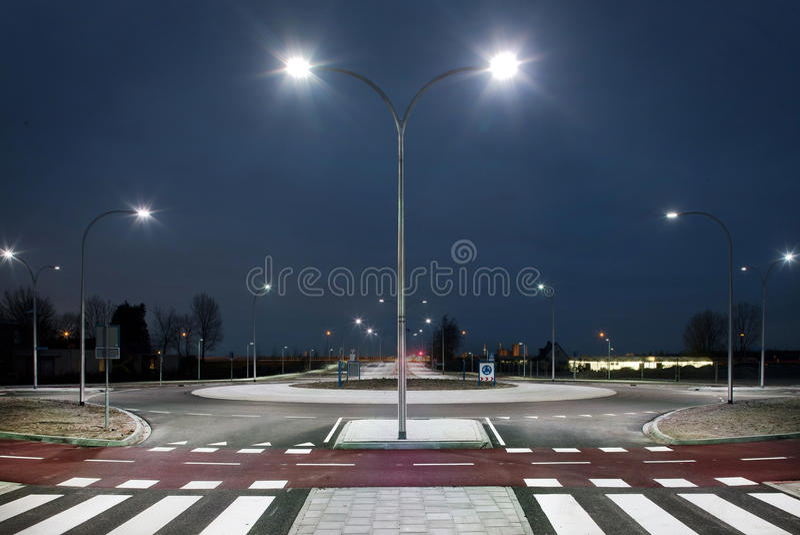 Rotonde bij nacht stock fotografie