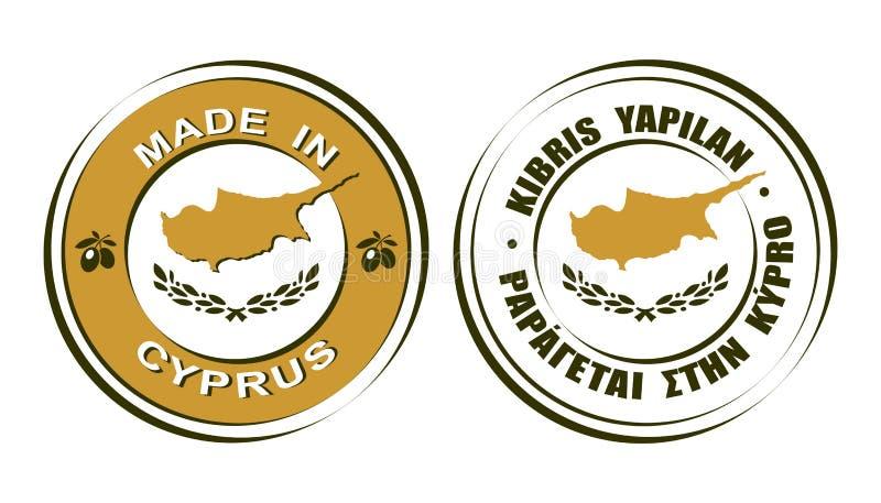 ` Rotondo delle etichette fatto nel ` del Cipro con l'icona delle olive e della bandiera illustrazione vettoriale