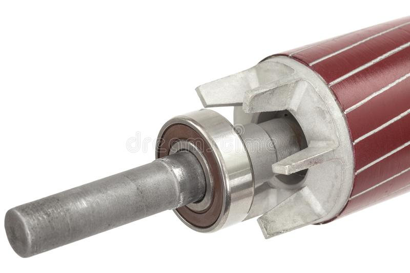 Rotor and ball bearing of electric motor, isolated on white background.  stock image