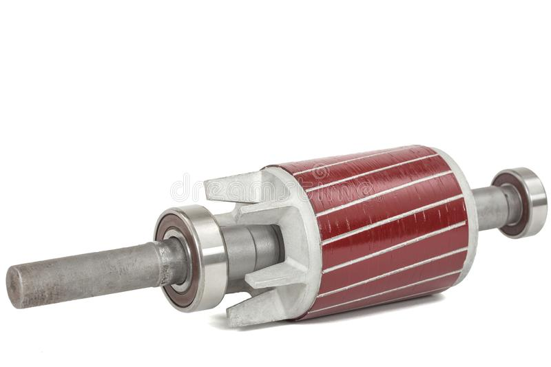 Rotor and ball bearing of electric motor, isolated on white background.  stock photo