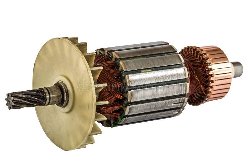 Rotor der Elektromotornahaufnahme, lokalisiert auf weißem Hintergrund stockbilder