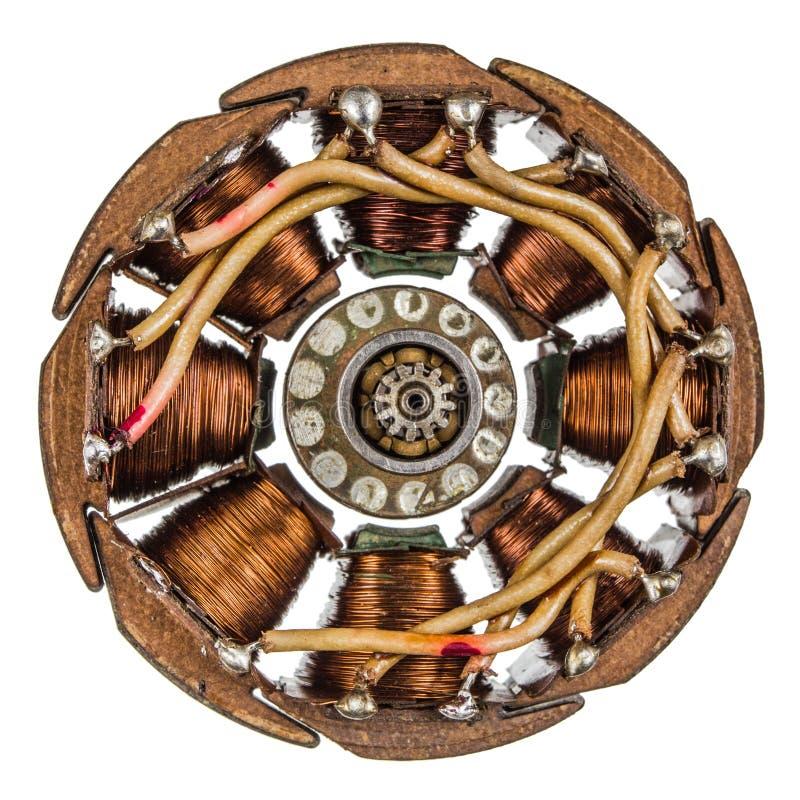 Rotor e estator do eletro motor, isolados no fundo branco imagens de stock royalty free